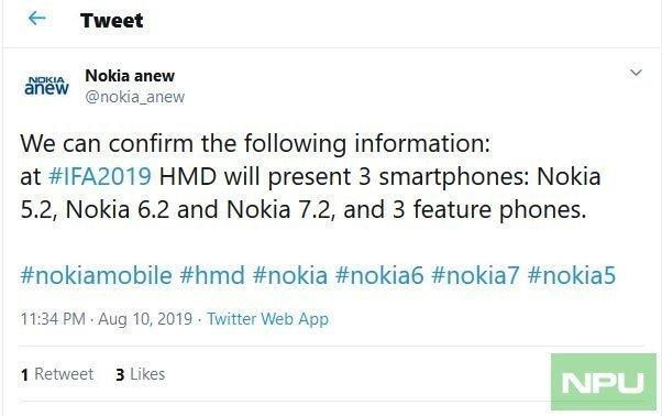 Смартфоны Nokia 5.2, Nokia 6.2 и Nokia 7.2 представят 5 сентября
