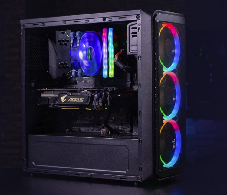 ПК-корпус Aerocool SI-5200 RGB Tempered Glass располагает тремя RGB-вентиляторами