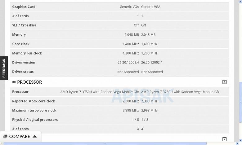 AMD готовит мобильный APU Ryzen 7 3750U