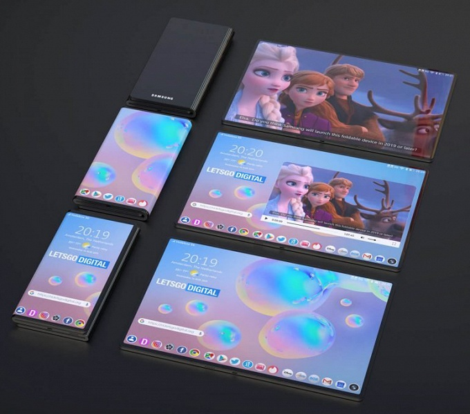 Галерея дня: Samsung научит Galaxy Fold складываться втрое