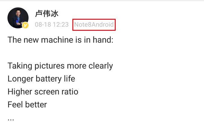 Вице-президент Xiaomi уже пользуется Redmi Note 8, он подтвердил наличие в смартфоне 64-мегапиксельной камеры и быстрой зарядки