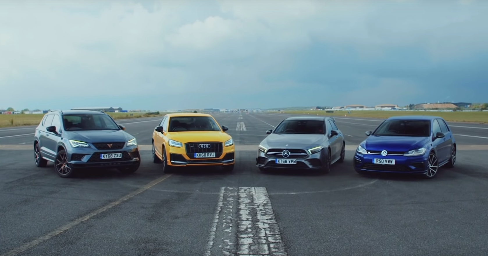 Audi SQ2, Mercedes-AMG A35, VW Golf R и Cupra Ateca: дрэг-гонка