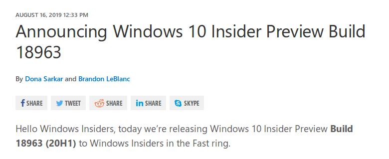 Microsoft выпустила Windows 10 Insider Preview Build 18963 (20H1) - 1