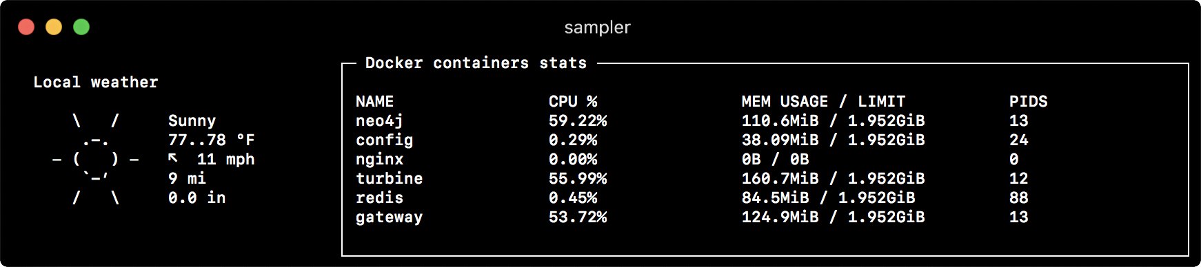 Sampler. Консольная утилита для визуализации результата любых shell команд - 6