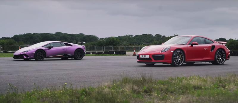 Lamborghini Huracan Performante против Porsche 911 Turbo S: дрэг-гонка