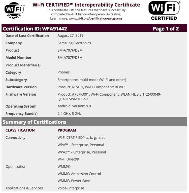 Смартфон среднего уровня Samsung Galaxy A70s получил сертификацию Wi-Fi Alliance