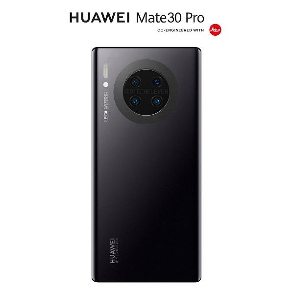 Huawei Mate 30 Pro на качественном рендере в черном цвете