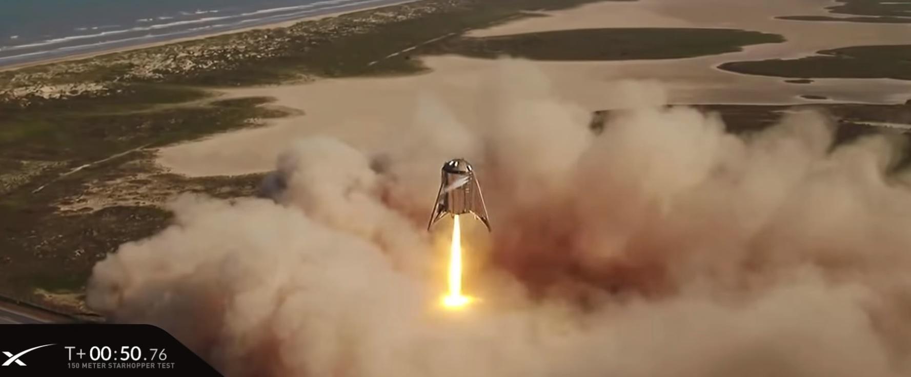 SpaceX провела летные испытания прототипа ракеты Starship — взлет на высоту 150 метров и мягкая посадка на площадку - 1