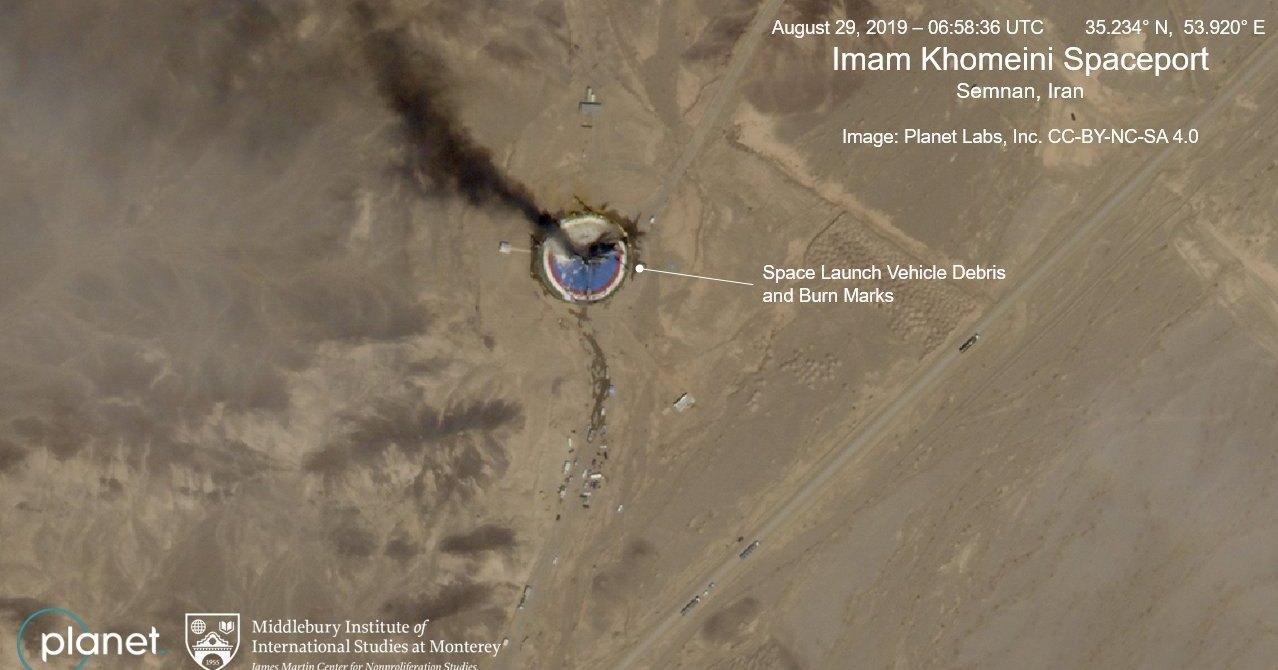Иранская ракета-носитель взорвалась на космодроме