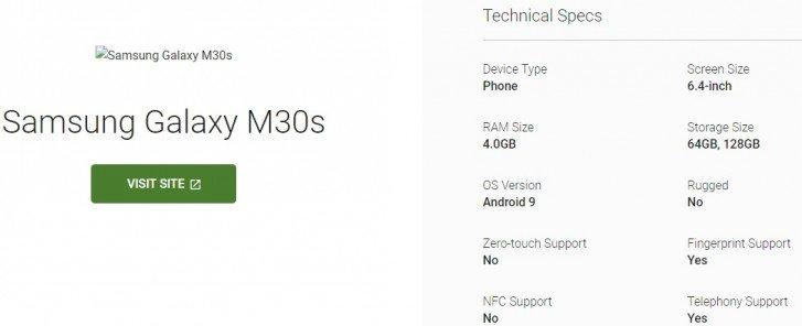 Основные характеристики смартфона Samsung Galaxy M30s подтверждены каталогом устройств Google
