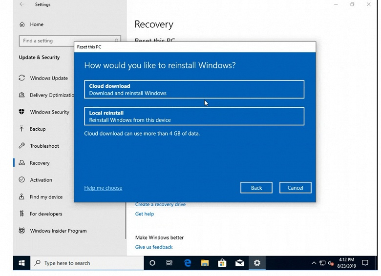 В Windows 10 появилась возможность переустановки системы из облака