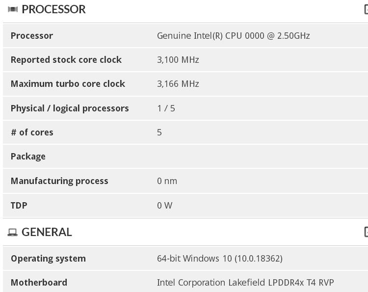 Процессоры Intel Lakefield раскрыли информацию о частотах и быстродействии