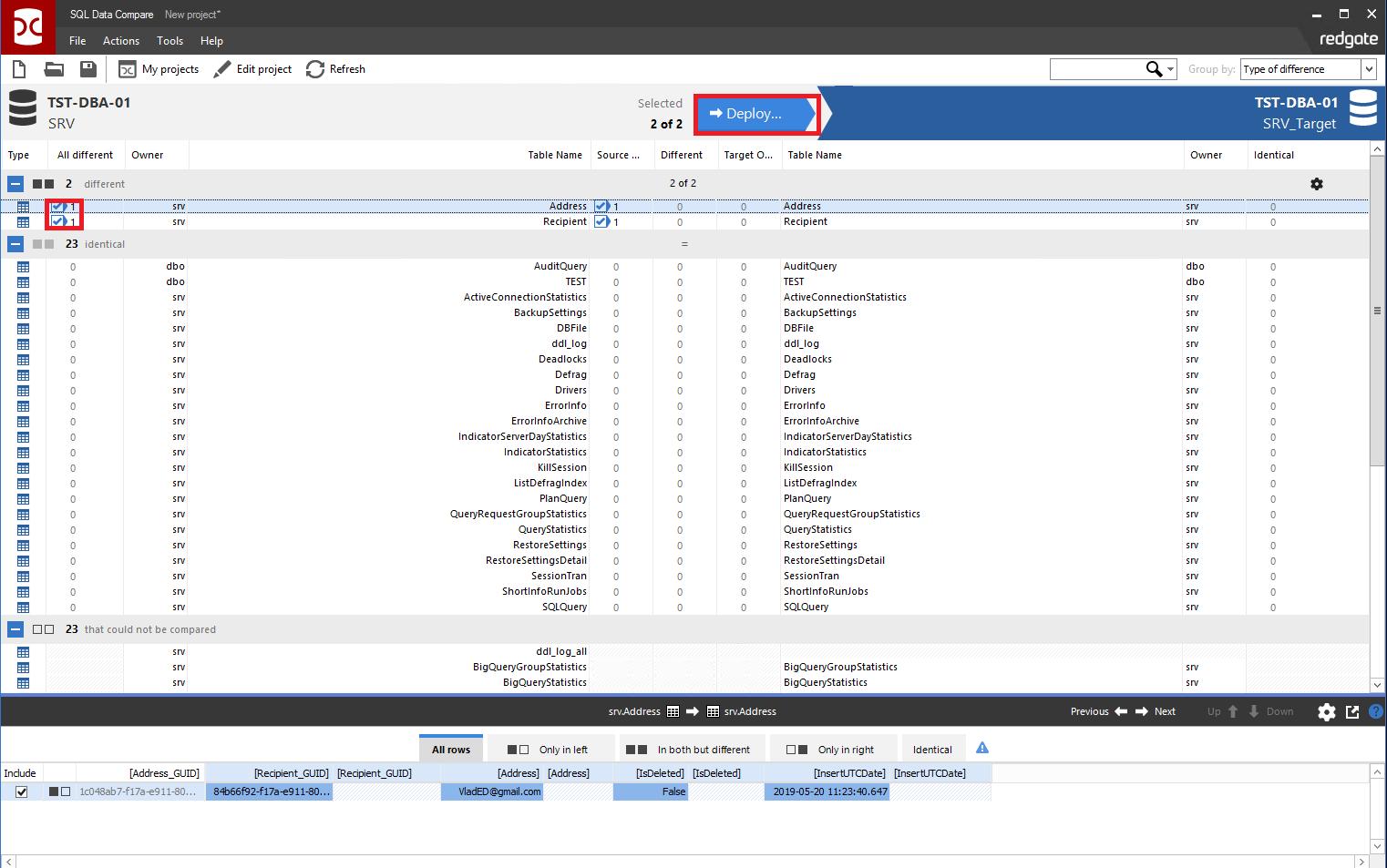 Сравнение компараторов для синхронизации схем и данных баз данных MS SQL Server - 100