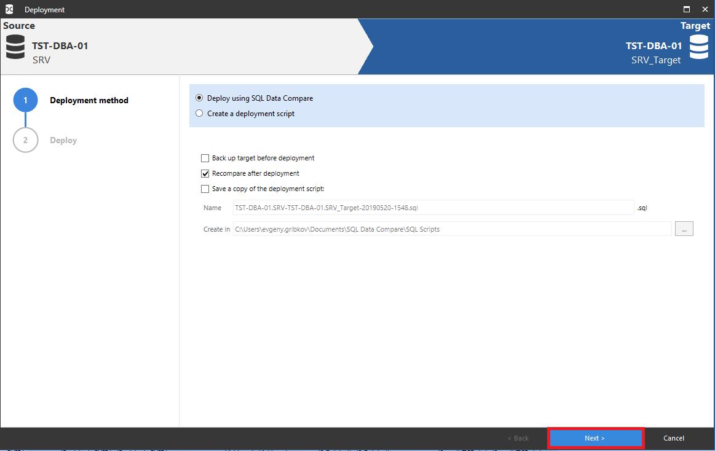 Сравнение компараторов для синхронизации схем и данных баз данных MS SQL Server - 101