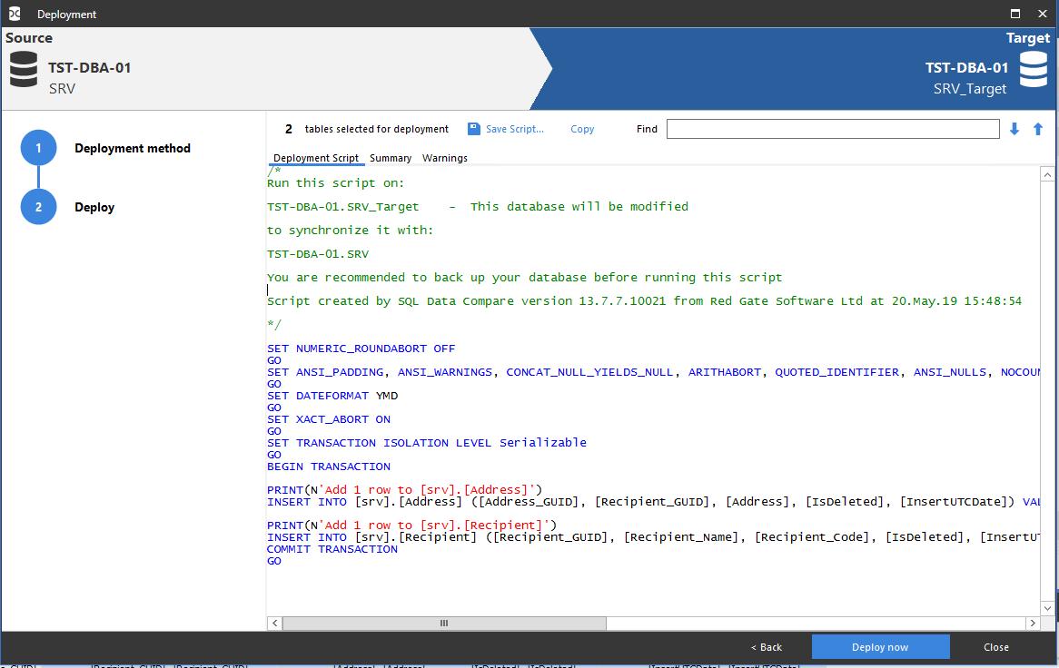 Сравнение компараторов для синхронизации схем и данных баз данных MS SQL Server - 102