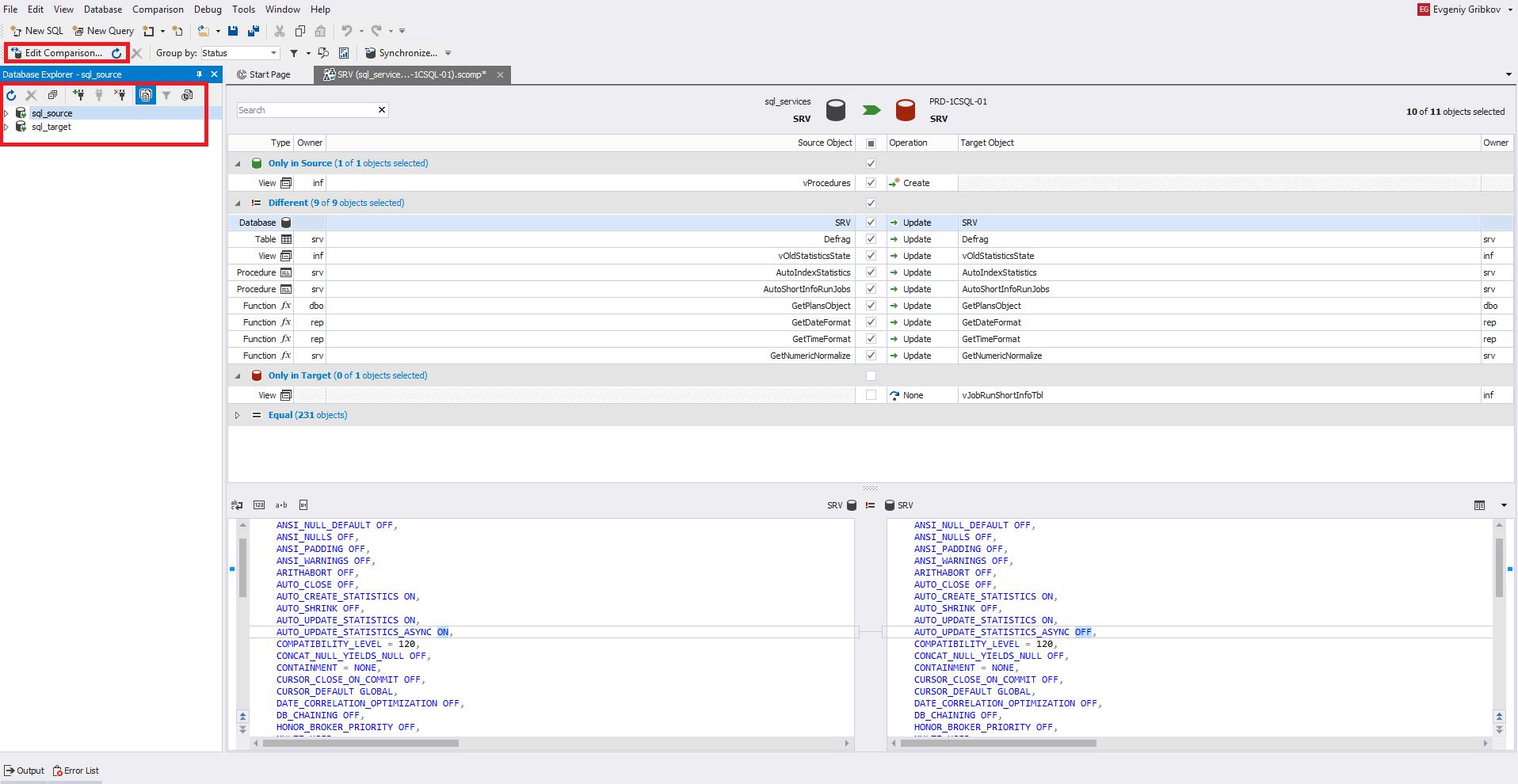 Сравнение компараторов для синхронизации схем и данных баз данных MS SQL Server - 12