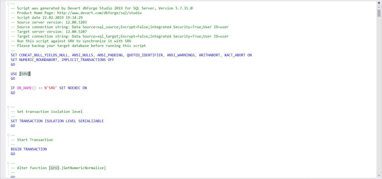 Сравнение компараторов для синхронизации схем и данных баз данных MS SQL Server - 20