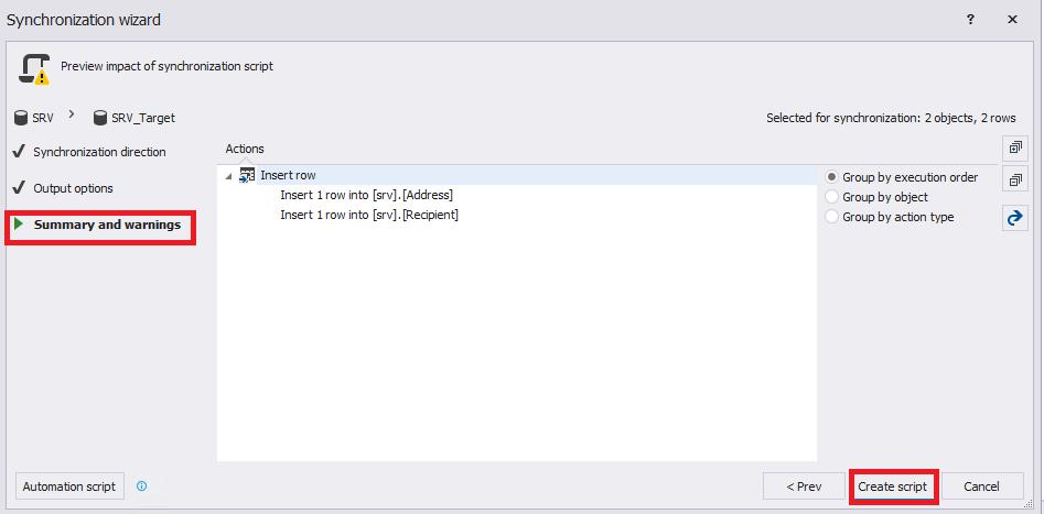 Сравнение компараторов для синхронизации схем и данных баз данных MS SQL Server - 75