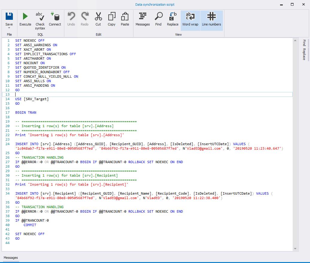 Сравнение компараторов для синхронизации схем и данных баз данных MS SQL Server - 76