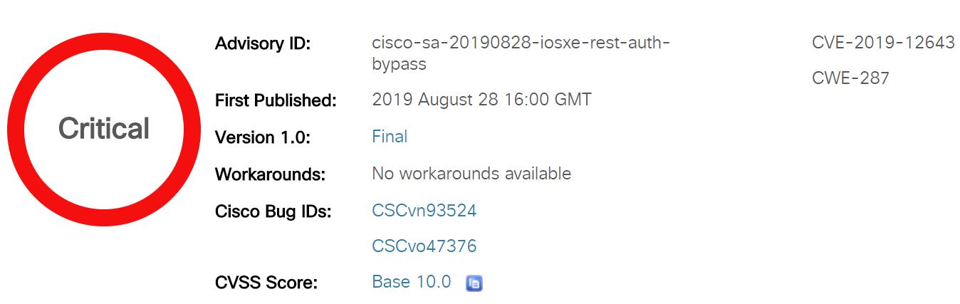 В оборудовании Cisco обнаружена критическая уязвимость на 10 из 10 баллов по шкале CVSS - 1