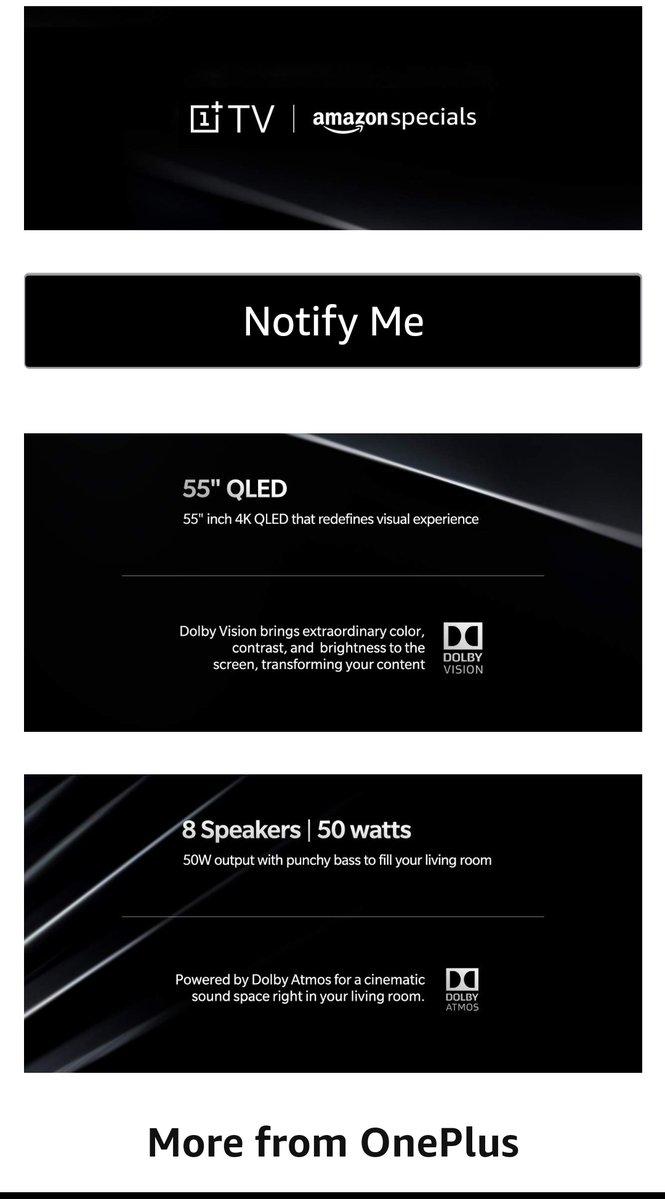 Телевизор OnePlus TV получил 8 динамиков общей мощностью 50 Вт