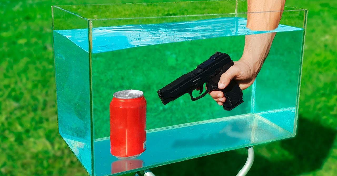 Выстрел в банку с газировкой под водой: взрывной опыт