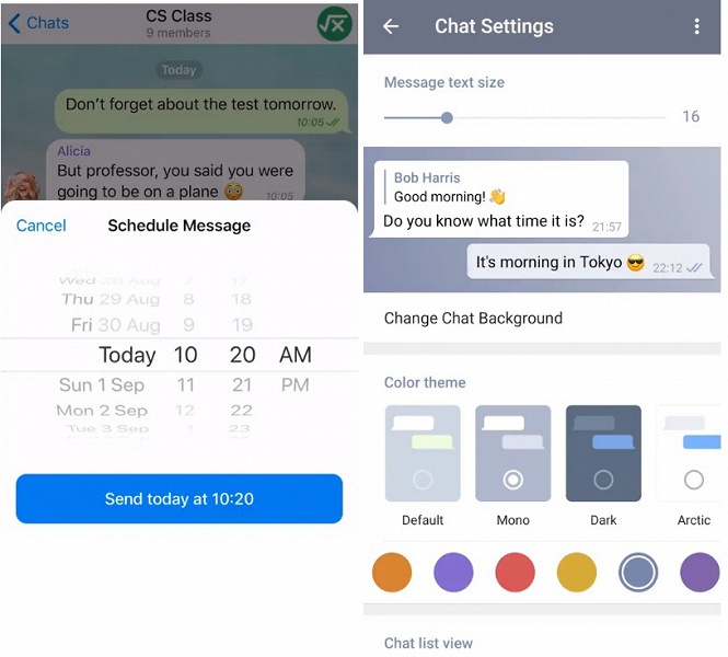 Telegram получил функции отложенной отправки сообщений и полного скрытия номера