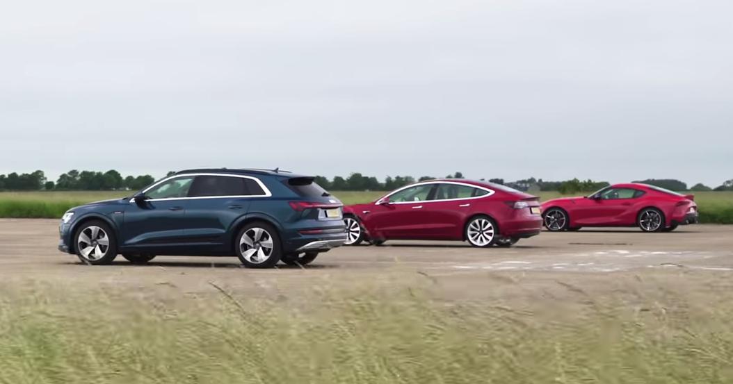 Tesla Model 3, Jaguar I-Pace, Audi e-tron и… Toyota Supra: дрэг-гонка
