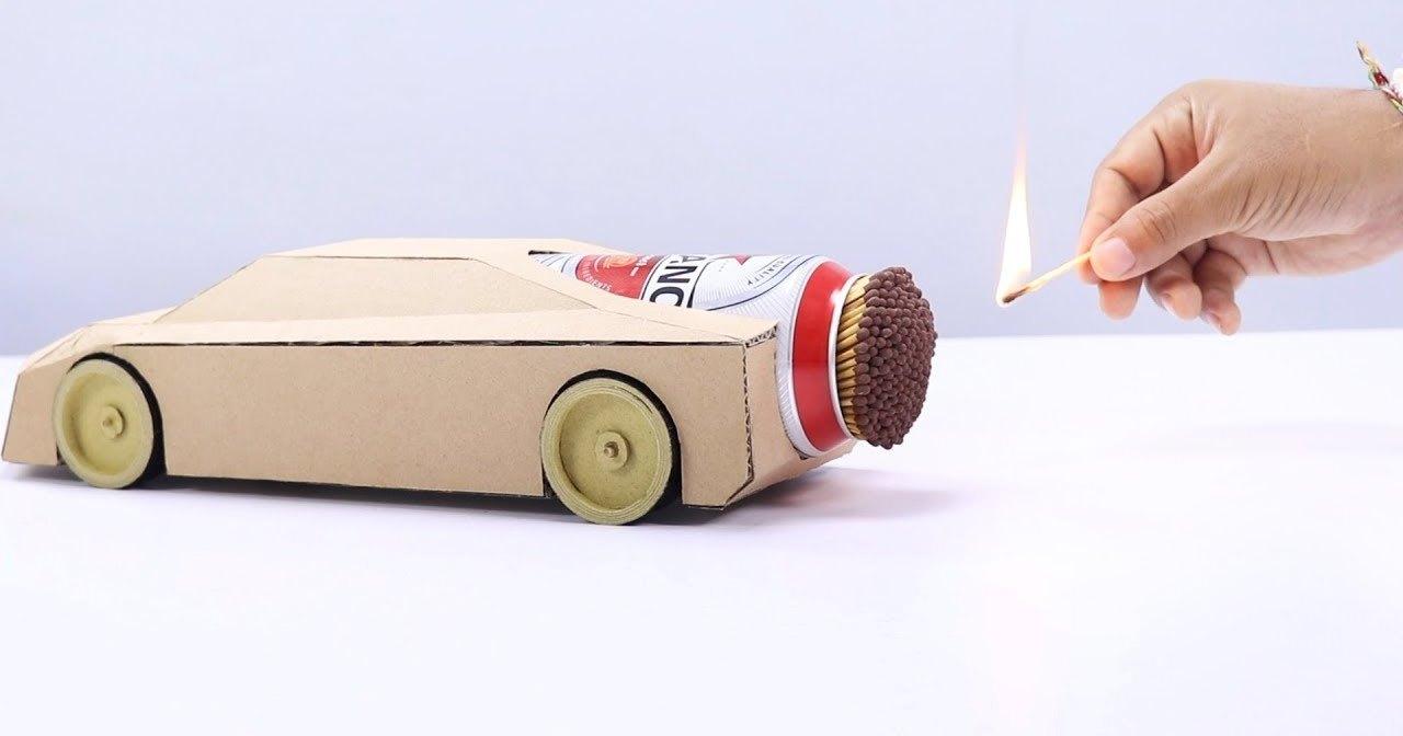 «Реактивный» движок из спичек для модели автомобиля: огненный вихрь