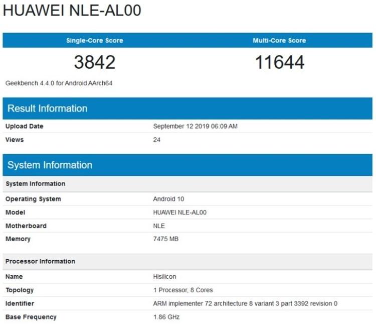Смартфон Huawei NLE-AL00 с чипом Kirin 990 и 8 Гбайт ОЗУ замечен в базе Geekbench