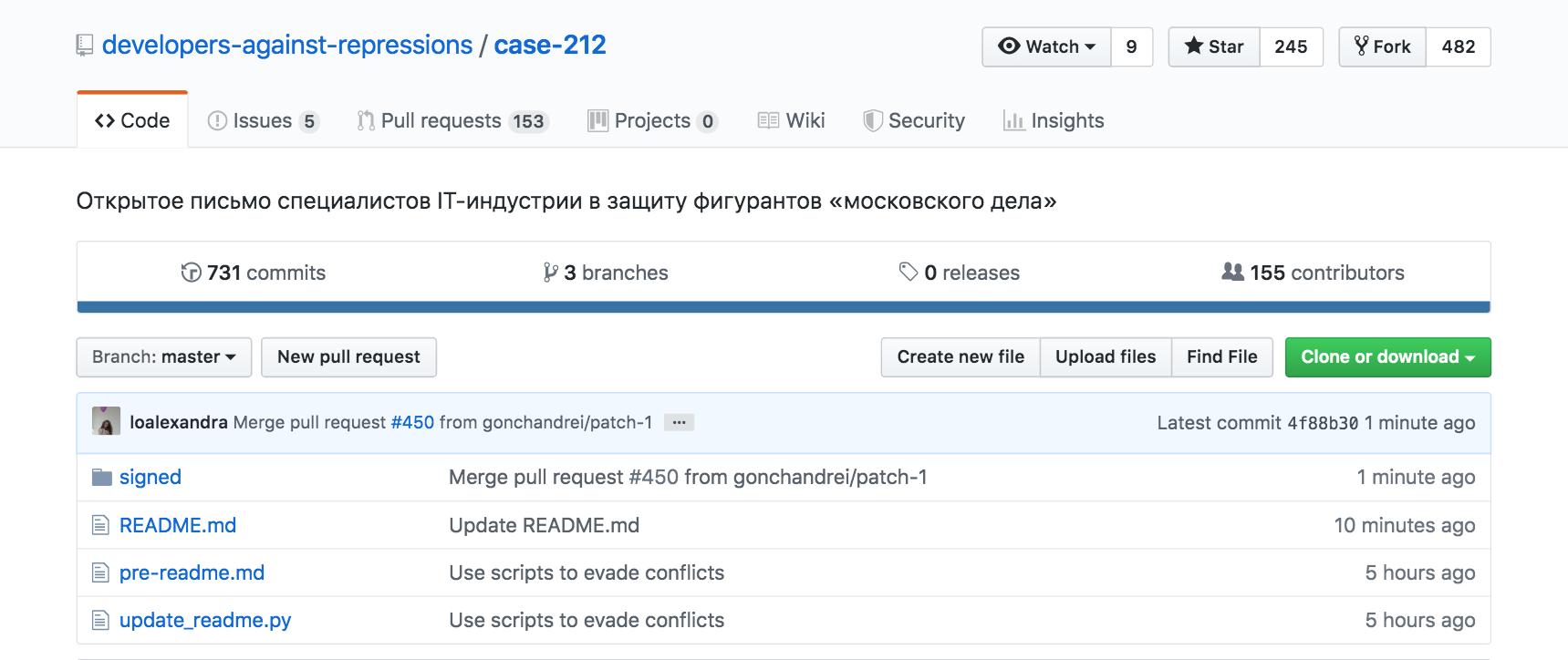 На GitHub создано письмо IT-специалистов в защиту фигурантов «московского дела» - 1
