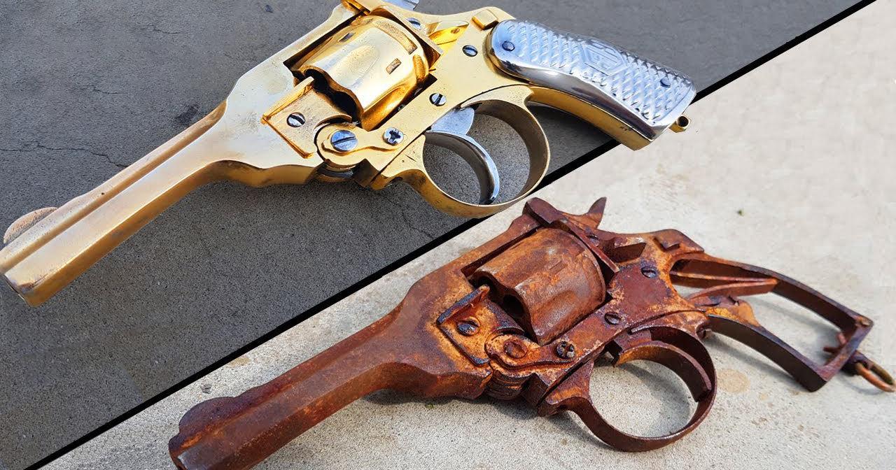 Из куска ржавчины в произведение искусства: позолоченный револьвер