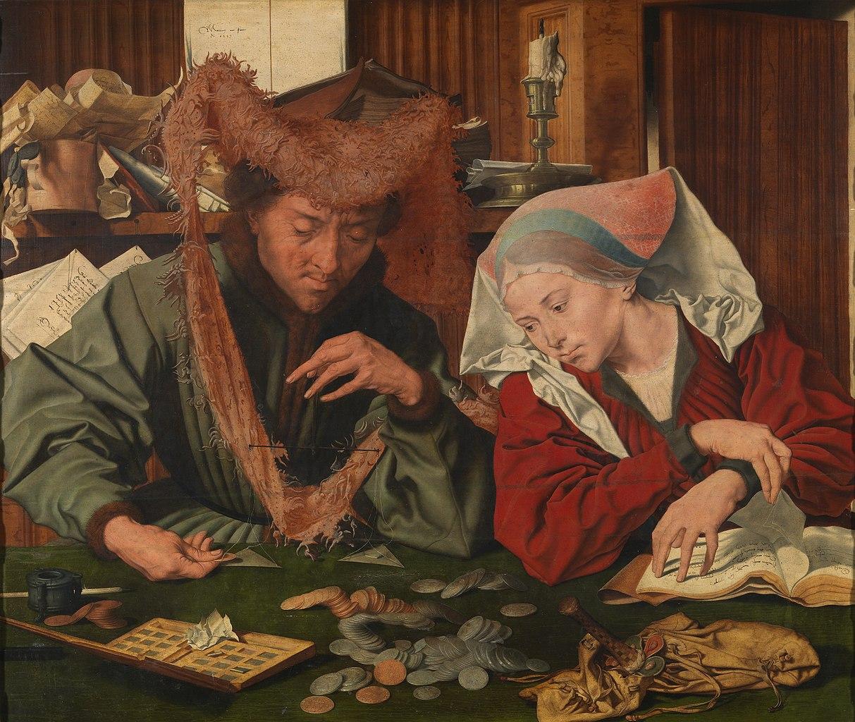 Маринус ван Реймерсвале. Меняла и его жена. 1539 г. Музей Прадо, Мадрид.