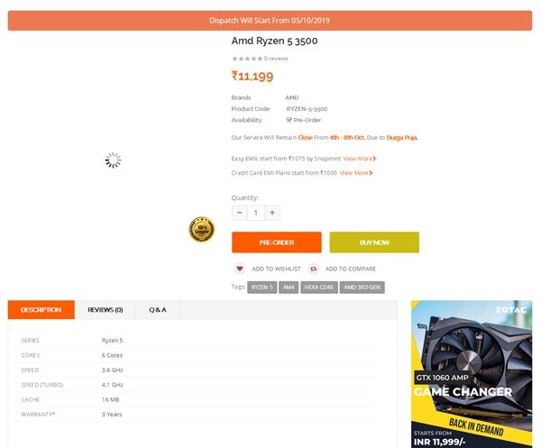 Бюджетный 6-ядерный процессор AMD Ryzen 5 3500 поступит в продажу 5 октября