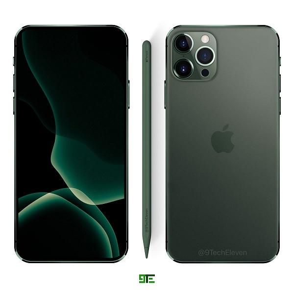 iPhone 12 Pro позирует рядом со стилусом Apple Pencil