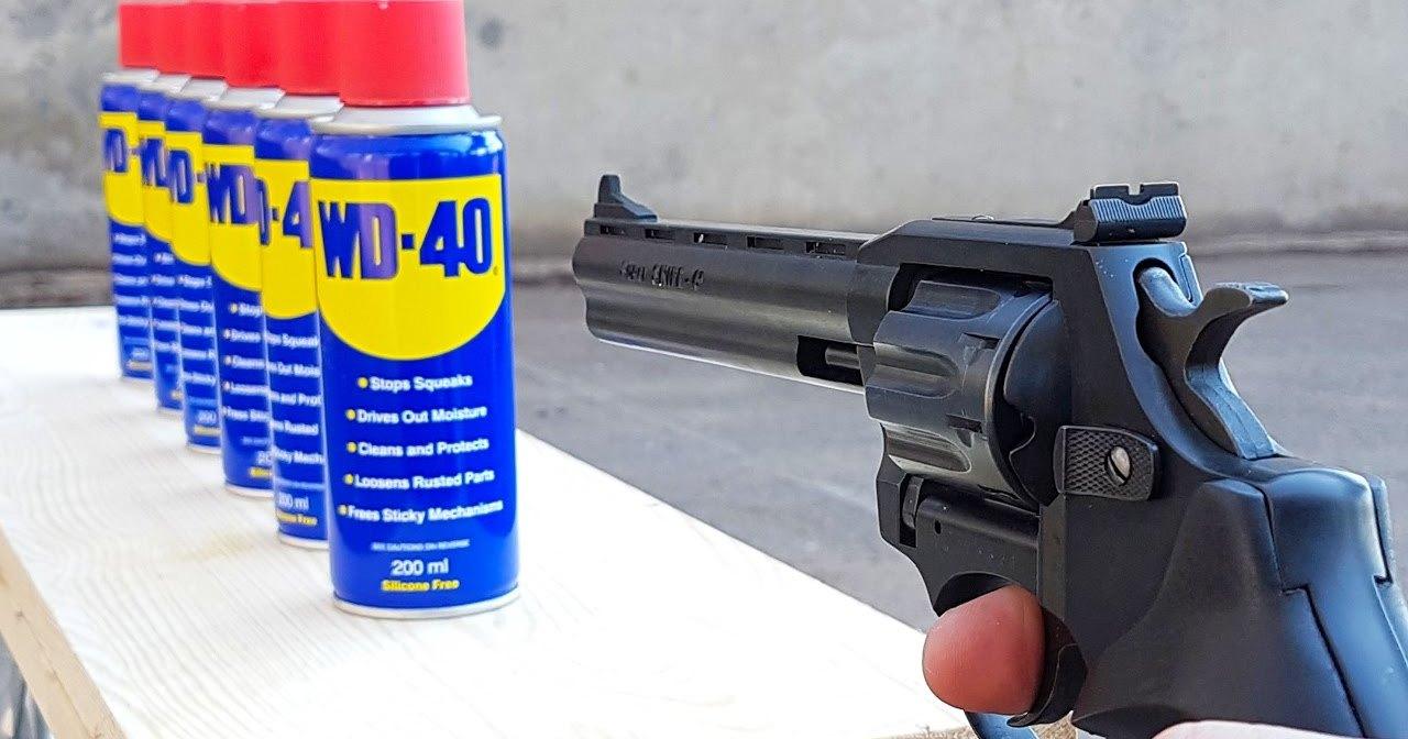 Сколько флаконов WD-40 остановят пулю из револьвера