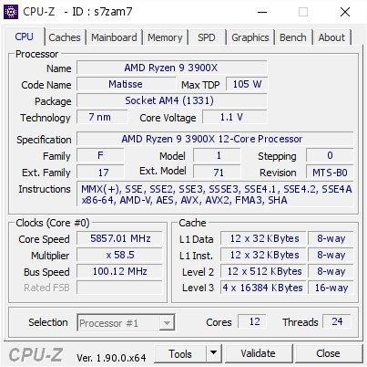 В шаге от 6 ГГц. Флагманский 12-ядерный AMD Ryzen 9 3900X продемонстрировал впечатляющий разгон