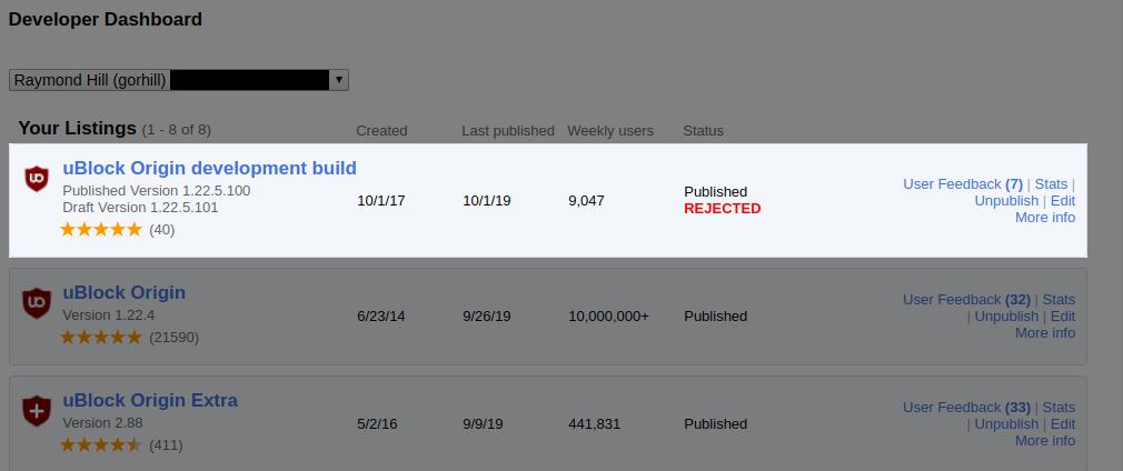 Магазин расширений Google Chrome не пускал последнюю бета-версию uBlock Origin из-за технических ошибок - 1