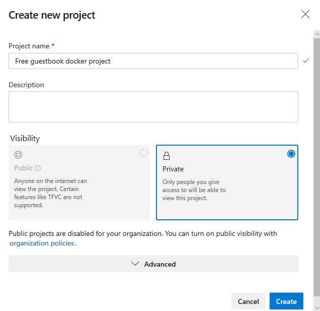 Создание проекта в Azure DevOps
