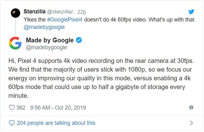 Google объяснила, почему Pixel 4 не поддерживает запись видео 4К с кадровой частотой 60 Гц