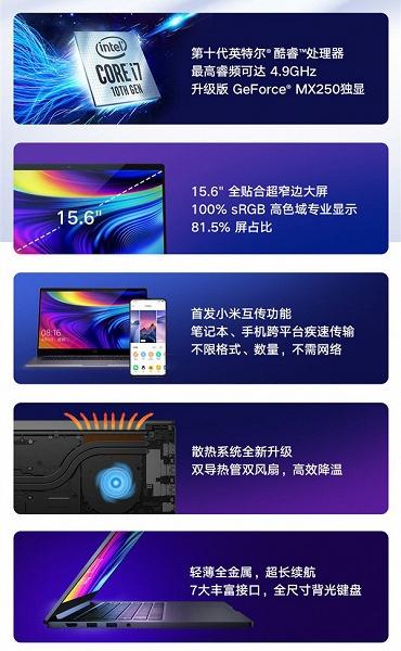 Представлены ноутбуки Xiaomi Mi Notebook Pro 15.6 Enhanced Edition на базе процессоров Intel Core 10-го поколения