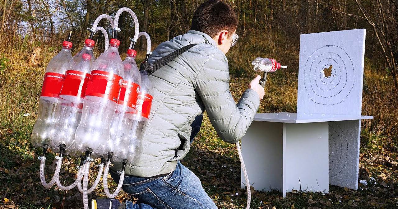 Пневматическая пушка из бутылок от газировки