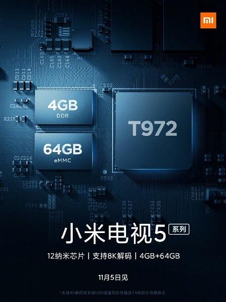 4 ГБ ОЗУ и 64 ГБ флэш-памяти. Телевизоры Xiaomi Mi TV 5 получат много памяти и мощную платформу, как у Mi TV Pro
