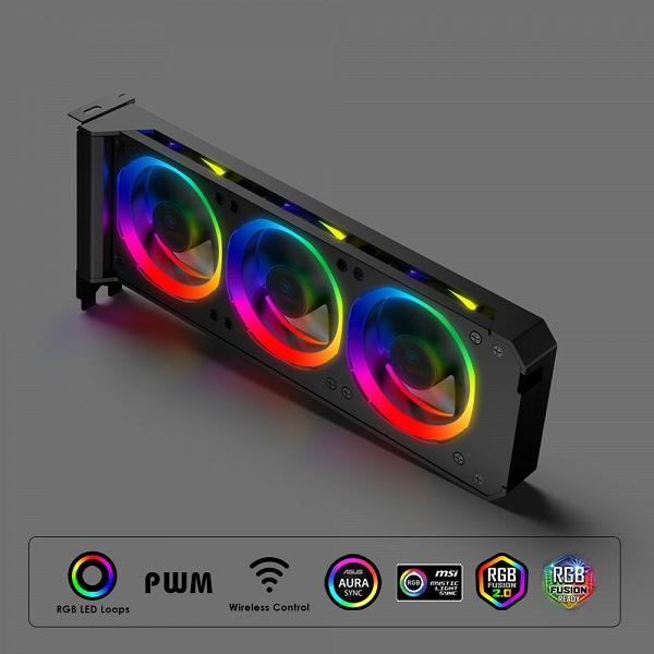 Система охлаждения Anidees RGB VGA Cooler не заменяет штатную систему охлаждения видеокарты, а дополняет ее