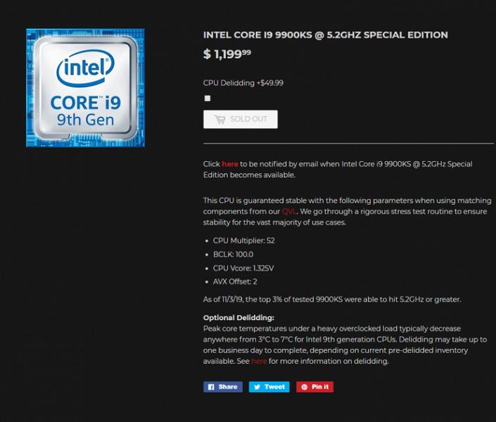 В продаже появились скальпированные и разогнанные Core i9-9900KS. Цены — до $1200 за штуку
