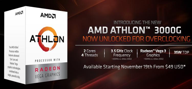 AMD Athlon 3000G: новый процессор для экономных любителей разгона