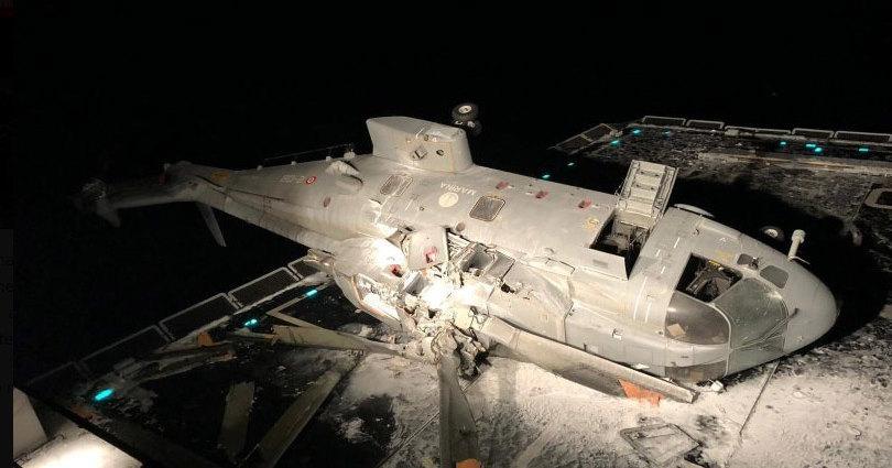 Итальянский вертолет столкнулся с эсминцем