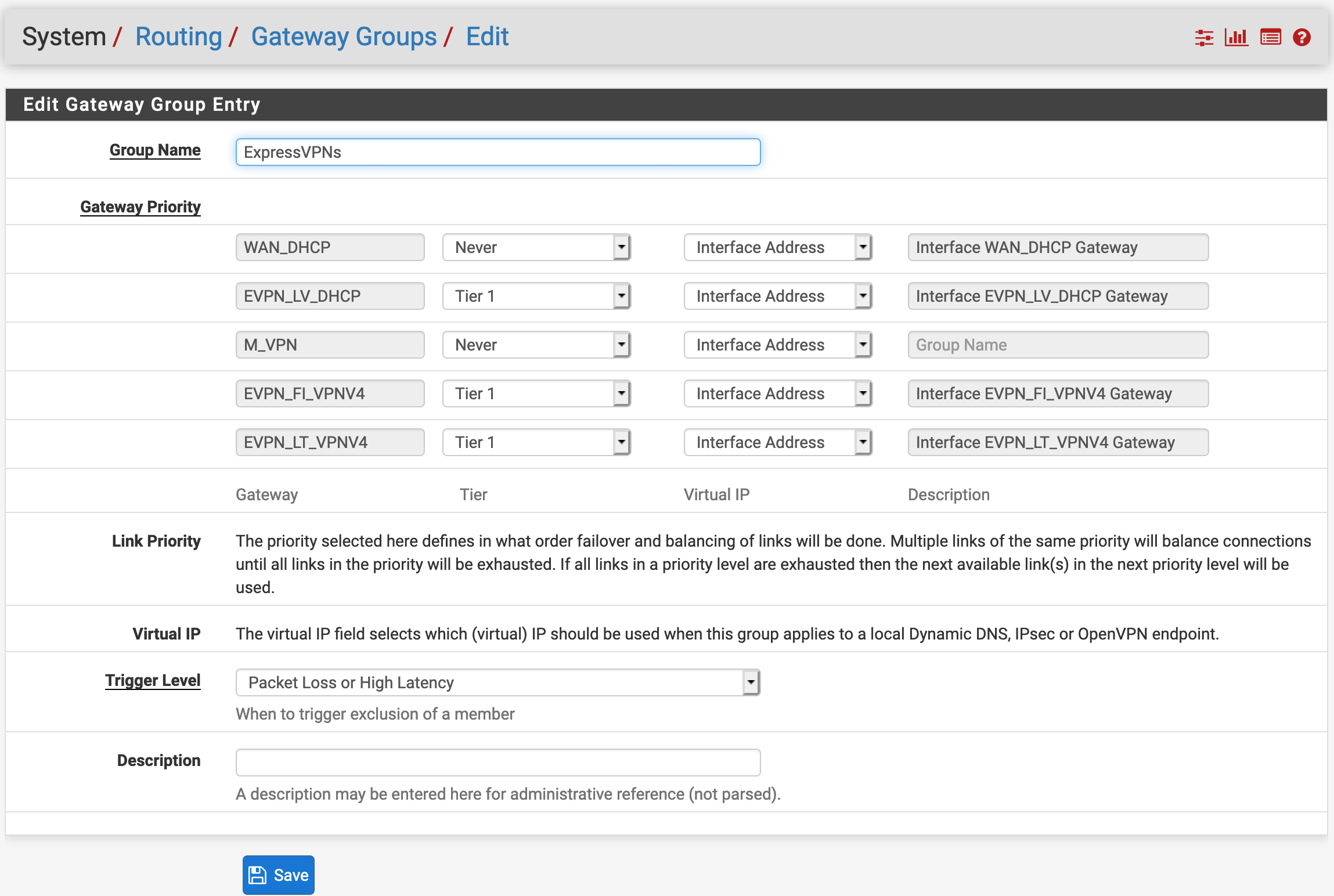 System - Routing - Gateway Groups