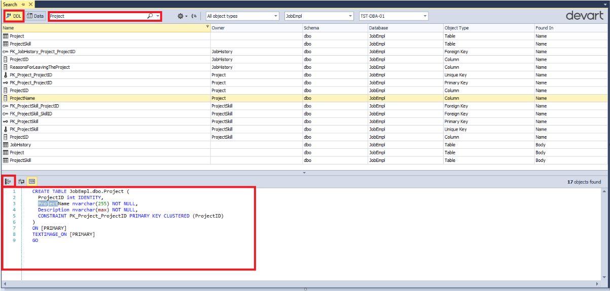 Поиск данных и объектов в базе данных MS SQL Server с помощью бесплатной утилиты dbForge Search - 13