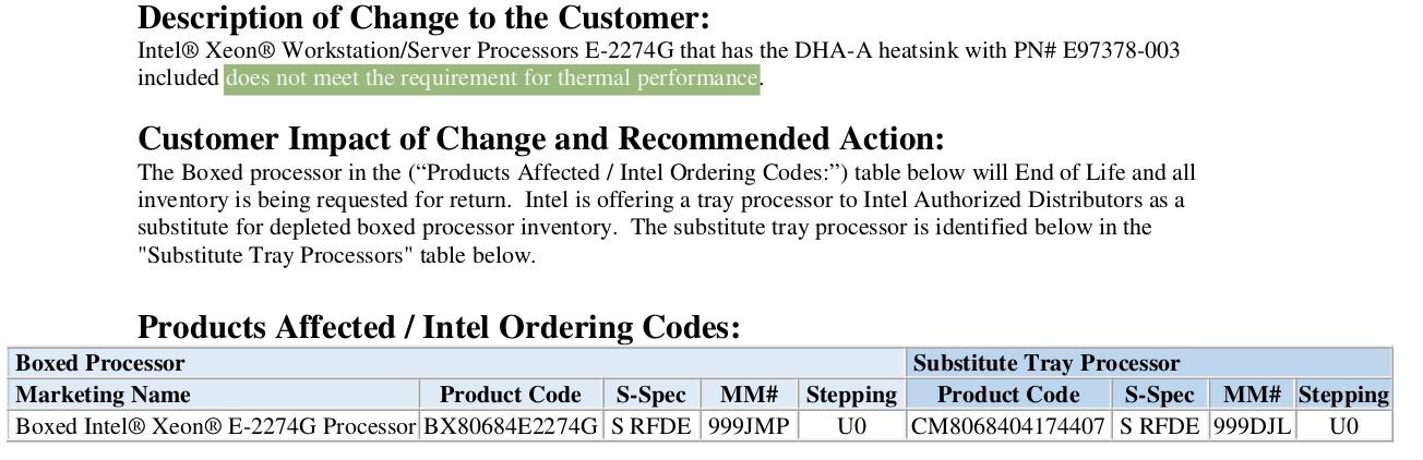 Intel отзывает коробочные версии процессора Xeon E-2274G из-за слабой штатной системы охлаждения - 1